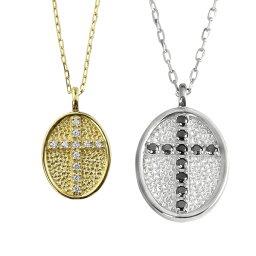 ペアネックレス ゴールド ダイヤモンド ブラックダイヤモンド 11石 クロス 十字架 楕円 10金 ペンダント 2本セット シンプル ネックレス チェーン ペア K10 婚約 結婚式 カップル ペアルック おすすめ プレゼント