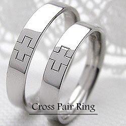 結婚指輪 ゴールド クロス ペアリング ホワイトゴールドK18 マリッジリング 十字架 18金 2本セット ペア 文字入れ 刻印 可能 婚約 結婚式 ブライダル ウエディング ギフト:ジュエリーアイ