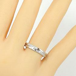 結婚指輪 ゴールド ダイヤモンド クロス ペアリング ホワイトゴールドK18 マリッジリング 十字架 18金 2本セット ペア 文字入れ 刻印 可能 婚約 結婚式 ブライダル ウエディング ギフト