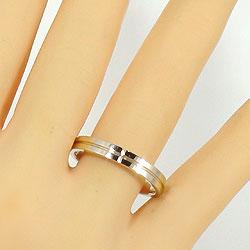 クロスマリッジリングダイヤモンドイエローゴールドK18結婚指輪ペアリング結婚式K18YGジュエリーアイ刻印文字入れ可能人気安い2本セットブライダルアクセサリーdiaringギフト