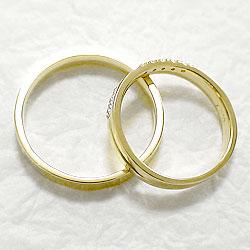クロスペアリング/ダイヤモンド/イエローゴールドK18/結婚指輪/マリッジリング/結婚式/K18YG/ジュエリーアイ/diaring