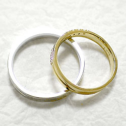 クロスマリッジリング/ダイヤモンド/イエローゴールドK10/ホワイトゴールドK10/結婚指輪/ペアリング/結婚式/K10YG/K10WG/ジュエリーアイ/diaring