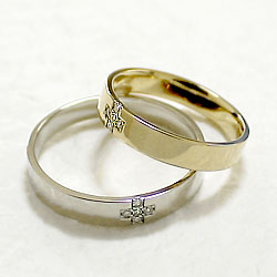 結婚指輪ゴールドクロスダイヤモンドペアリングイエローゴールドK10ホワイトゴールドK10マリッジリング十字架10金2本セットペア文字入れ刻印可能婚約結婚式ブライダル