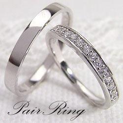 結婚指輪 プラチナ エタニティリング 平打ち ペアリング ダイヤモンド 0.20ct Pt900 マリッジリング 2本セット ペア 文字入れ 刻印 可能 婚約 結婚式 ブライダル ウエディング ギフト:ジュエリーアイ