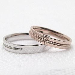 結婚指輪クロスミル打ちマリッジリングピンクゴールドK18ホワイトゴールドK18ペアリング十字架ギフト