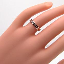結婚指輪ゴールドペアクロスミル打ちマリッジリングピンクゴールドK18ホワイトゴールドK18ペアリング十字架ペアリング18金2本セット