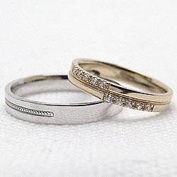 クロスマリッジリング/イエローゴールドK10/ホワイトゴールドK10/結婚指輪/K10YG/K10WG/天然ダイヤモンド/ミル打ち/十字架