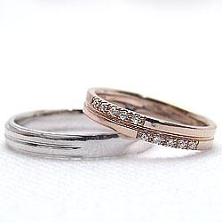 結婚指輪 ゴールド ペア マリッジリング クロス ダイヤモンド ピンクゴールドK18 ホワイトゴールドK18 K18PG K18WG ペアリング 十字架 18金 2本セット