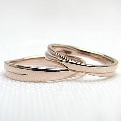 結婚指輪ゴールドペアリングクロス交差デザインピンクゴールドK10マリッジリング10金2本セット文字入れ刻印可能婚約結婚式ブライダルウエディングギフト