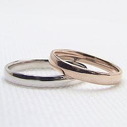 結婚指輪 平甲丸 3mm幅 ペアリング ピンクゴールドK18 ホワイトゴールドK18 マリッジリング 18金 2本セット 文字入れ 刻印 可能 婚約 結婚式 ブライダル ウエディング ギフト