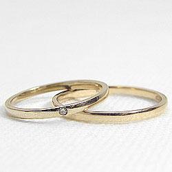 イエローゴールドK18/マリッジリング/ダイヤペアリング/K18YG/天然ダイヤモンド/シンプルデザイン/指輪/記念日/誕生日/ジュエリーアイ