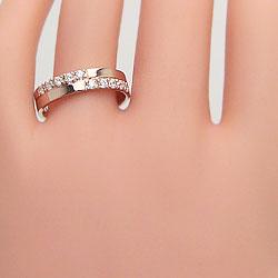 結婚指輪 ゴールド クロス ダイヤモンド 幅広 ペアリング ピンクゴールドK10 マリッジリング 10金 2本セット ペア 文字入れ 刻印 可能 婚約 結婚式 ブライダル ウエディング ギフト