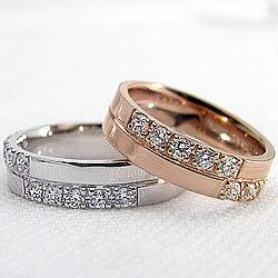クロスダイヤモンドマリッジリング/ピンクゴールドK10/ホワイトゴールドK10/結婚指輪/天然ダイヤモンド/結婚式/アクセサリー/ジュエリーショップ