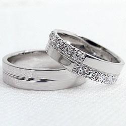 クロスダイヤモンドマリッジリング/ホワイトゴールドK18/K18WG/ペアリング/婚約/結婚式/アクセサリー/ジュエリーアイ/天然ダイヤモンド