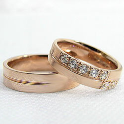 クロスダイヤマリッジリング/ピンクゴールドK18/K18PG/ペアリング/結婚指輪/アクセサリー/ジュエリーショップ/天然ダイヤモンド