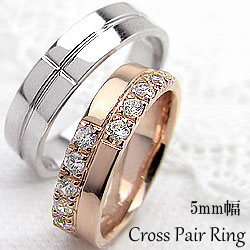 クロスマリッジリング ピンクゴールドK10 ホワイトゴールドK10 天然ダイヤモンド ペアリング 指輪 アクセサリー ジュエリーアイ 記念日 プレゼントに ギフト:ジュエリーアイ