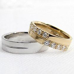 クロスマリッジリング/イエローゴールドK18/ホワイトゴールドK18/天然ダイヤモンド/ペアリング/指輪/アクセサリー/ジュエリーアイ/記念日/プレゼントに