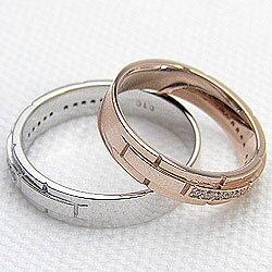 マリッジリング/バンドデザイン/ピンクゴールドK18/ホワイトゴールドK18/バンドデザイン/結婚指輪/婚約/結婚式/記念日/ジュエリーアイ