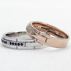 マリッジリング/ブラックダイヤモンド/天然ダイヤモンド/K10PG/K10WG/結婚指輪/指輪/アクセサリー/記念日/誕生日/ジュエリーアイ