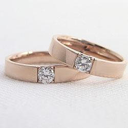 結婚指輪 ゴールド 一粒ダイヤモンド 0.2ct ペアリング ピンクゴールドK10 マリッジリング 10金 2本セット ペア 文字入れ 刻印 可能 婚約 結婚式 ブライダル ウエディング ギフト
