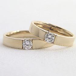 一粒ダイヤモンドマリッジリングK10YGブライダルリング天然ダイヤモンド0.2ctマリッジリングジュエリーショップイエローゴールドK10アクセサリー婚約結婚ペアリングギフト