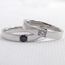 結婚指輪 ゴールド 一粒ダイヤモンド ブラックダイヤモンド ペアリング ホワイトゴールドK10 マリッジリング 10金 2本セット ペア 文字入れ 刻印 可能 婚約 結婚式 ブライダル ウエディング ギフト