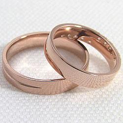 クロスダイヤモンドペアリングピンクゴールドK18マリッジリング結婚指輪人気ブライダルアクセサリー結婚記念日誕生日プレゼントK18PGプロポーズ