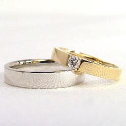 結婚指輪マリッジリング10金一粒ダイヤモンド平打ちペアリングイエローゴールドK10ホワイトゴールドK10文字入れ刻印可能当店人気2本セットブライダルギフト
