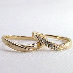 マリッジリングイエローゴールドK10結婚記念日ペアリング天然ダイヤモンドK10YGジュエリーアイギフト