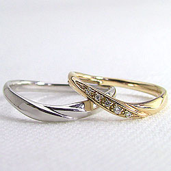 マリッジリングイエローゴールドK18ホワイトゴールドK18結婚記念日ペアリング天然ダイヤモンドK18YGK18WG人気pairring