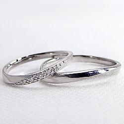 結婚指輪プラチナペアダイヤモンドマリッジリングウェーブカーブデザインペアリングPt9002本セット文字入れ刻印可能婚約結婚式ブライダルウエディングギフト