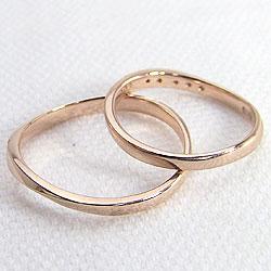 結婚指輪 ゴールド カーブデザイン ウェーブライン ダイヤモンド ペアリング ピンクゴールドK18 マリッジリング 18金 2本セット ペア 文字入れ 刻印 可能 婚約 結婚式 ブライダル ウエディング ギフト