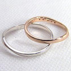 結婚指輪ゴールドダイヤモンドマリッジリングペアリングウェーブデザイン10金カーブデザインピンクゴールドK10ホワイトゴールドK102本セットペア文字入れ刻印可能婚約結婚式ブライダルウエディングギフト