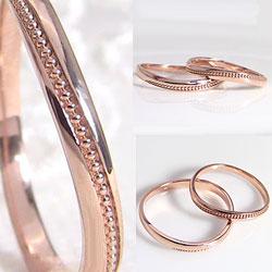 結婚指輪ミル打ちオリジナルデザインマリッジリングK18ペアリング18金文字入れ刻印可能当店人気2本セットブライダルギフト