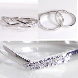 結婚指輪プラチナVラインダイヤモンドオリジナルマリッジリングPt900ペアリング文字入れ刻印可能2本セット文字入れ刻印可能婚約結婚式ブライダルウエディングギフト