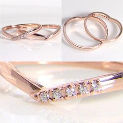 結婚指輪ゴールドVラインダイヤモンドペアリング18金マリッジリング2本セットペア文字入れ刻印可能婚約結婚式ブライダルウエディングギフト