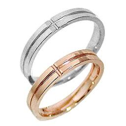結婚指輪 ゴールド クロス ペアリング ピンクゴールドK18 ホワイトゴールドK18 マリッジリング 十字架 18金 2本セット ペア 文字入れ 刻印 可能 婚約 結婚式 ブライダル ウエディング おすすめ プレゼント