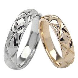 結婚指輪 キルティングデザイン ペアリング イエローゴールドK10 ホワイトゴールドK10 マリッジリング 10金 2本セット 文字入れ 刻印 可能 婚約 結婚式 ブライダル ウエディング おすすめ プレゼント
