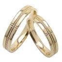結婚指輪 クロスミル打ちペアリング イエローゴールドK10 10金 マリッジリング 2本セット 文字入れ 刻印 可能 婚約 結婚式 ブライダル ウエディング おすすめ プレゼント