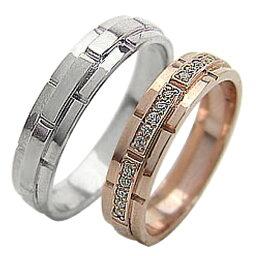 結婚指輪 ゴールド バンドデザイン ダイヤモンド ペアリング ピンクゴールドK10 ホワイトゴールドK10 ベルト マリッジリング 10金 2本セット ペア 文字入れ 刻印 可能 婚約 結婚式 ブライダル ウエディング おすすめ プレゼント