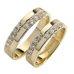 結婚指輪 ゴールド クロス ダイヤモンド ペアリング マリッジリング 十字架 イエローゴールドK10 10金 2本セット ペア 文字入れ 刻印 可能 婚約 結婚式 ブライダル ウエディング おすすめ プレゼント