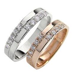 結婚指輪 ゴールド クロス ペアリング シンプル ピンクゴールドK18 ホワイトゴールドK18 マリッジリング 18金 2本セット ペア 文字入れ 刻印 可能 婚約 結婚式 ブライダル ウエディング おすすめ プレゼント