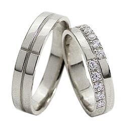 結婚指輪 ゴールド クロス ダイヤモンド ペアリング マリッジリング 十字架 ホワイトゴールドK18 18金 2本セット ペア 文字入れ 刻印 可能 婚約 結婚式 ブライダル ウエディング おすすめ プレゼント
