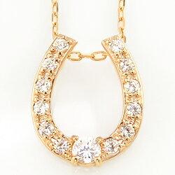 馬蹄ネックレスダイヤモンドホースシューペンダント10金天然ダイヤ13石豪華モチーフホワイトピンクイエローゴールド人気首飾り