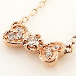 リボンネックレスダイヤモンド18金ハートりぼんペンダントホワイトピンクイエロー天然ダイヤ7石セブンストーンモチーフ人気首飾り
