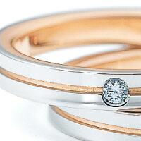 《NINARICCI》Pt900(プラチナ)/K18PG(ピンクゴールド)ダイヤモンドリング
