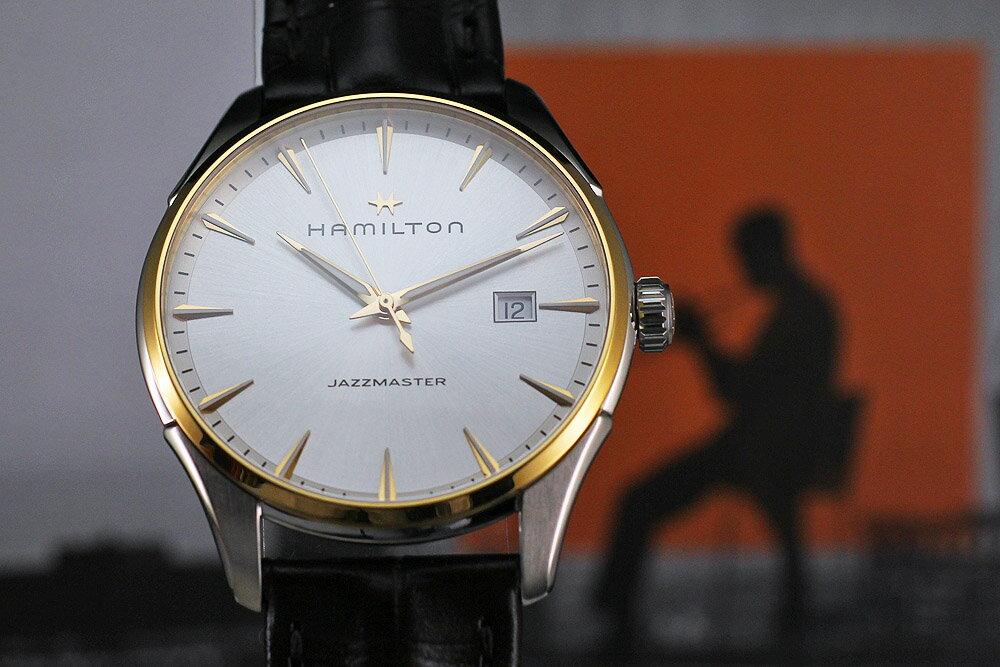 ハミルトンは安心の正規販売店で HAMILTON ジャズマスター ジェント クォーツ JAZZMASTER GENT 40mm SS×PG ブラウンカーフ 正規輸入品 H32441551