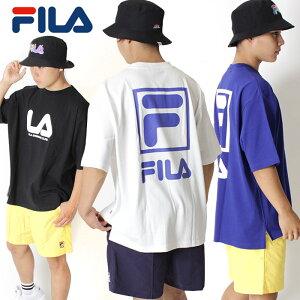 【30%OFF】FILA HERITAGE フィラ ヘリテージ オーバーサイズ バックプリント ビッグシルエット Tシャツ [Lot/FM9553] メンズ トップス ホワイト ビッグシルエット ブルー ブラック スクエアロゴ ブランドロゴ