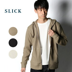 SLICK スリック ビッグ ワッフル ジップ フーディー [Lot/5155504] フーディー ワイド ビッグシルエット 英国 アイボリー ベージュ ブラック MEN'S FUDGE トレンド 春 メンズ ブランド シンプル きれいめ 大人 紳士