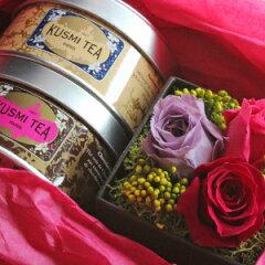 クスミティーとプリザーブドフラワーのギフトセットフランス 紅茶 ギフト 結婚祝い 出産祝い 開...